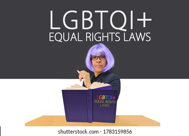 Teacher with Book in front of LGBTQI+ Equal Rights Laws Blackboard