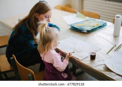Teacher of children in creative development. Kids creativity.