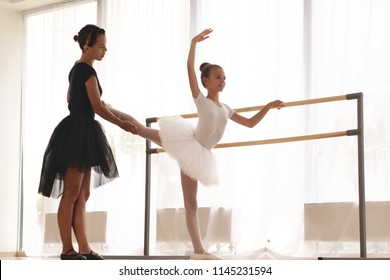 A teacher of classical dance teaches some steps to his young student who wants to learn how to dance. Concept of: ambition, education, teaching and love for the dance