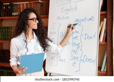 Teacher In Classroom. Smiling professional female English teacher writing on whiteboard with marker. Young woman wearing eyeglasses, explaining grammar rules to the students, standing with folder