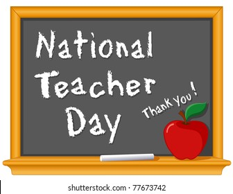 Teacher Day Chalkboard, national holiday held annually in USA since 1984 on Tuesday of 1st full week of May. Chalk text on blackboard, red apple with a big thank you!