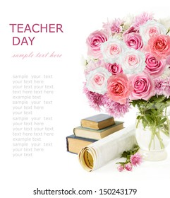 Teacher Day (flowers bunch, books and map isolated on white background with sample text)