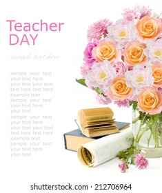 Teacher day (flowers bunch with roses, tulips and asters, map and books isolated on white)
