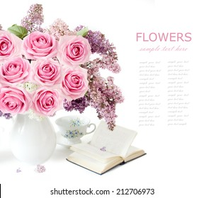 Teacher day (flowers bunch with roses and lilac, map and books isolated on white)