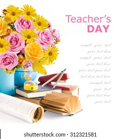 Teacher day (flowers bunch with roses and asters, map and books isolated on white)