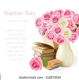Teacher day (huge roses  bunch and books isolated on white background)
