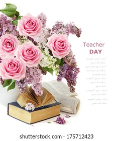 Teacher day (lilac and roses flowers bunch, map and books isolated on white background)