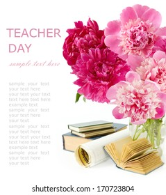 Teacher day (peony flowers bunch, map and books isolated on white background)