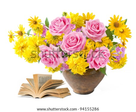 4d37ca0d Teacher day (rich bouquet with summer flowers and pink roses and old book  isolated on