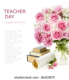 Teacher day (still life with bunch of  pink roses, books and map isolated on white)