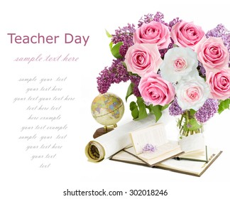 Teacher Day (still life with flowers bunch, globe, books and map isolated on white with sample text)