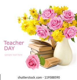 Teacher Day (still life with huge bunch of roses and asters, map and books isolated on white background)