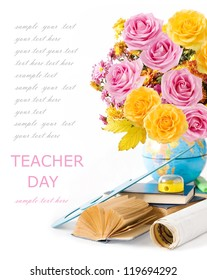 Teacher Day (still life with huge bunch of roses,asters and peonies, globe, map, book and sharpener isolated on white background)