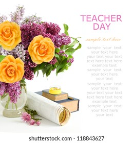 Teacher day (still life with lilac flowers and roses bunch, map, book and sharpener isolated on white background with sample text)