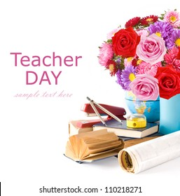 Teacher day (summer flowers bunch with roses and asters, map and books isolated on white)
