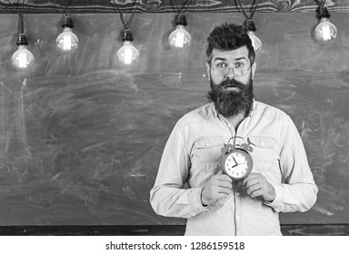 Teacher in eyeglasses holds alarm clock. Schedule and regime concept. Man with beard and mustache on surprised face in classroom. Bearded hipster holds clock, chalkboard on background, copy space.