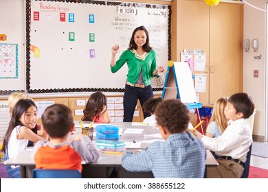 Teacher at the front of class with elementary school kids