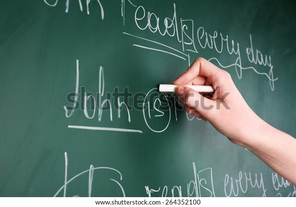Teacher Hand Writing Grammar Sentences On Stock Photo (Edit