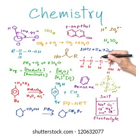 teacher hand writing science and chemical formula