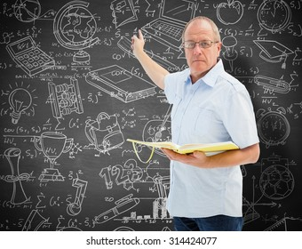 Teacher holding book and pointing against black background
