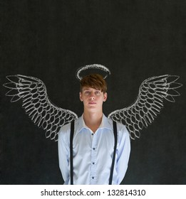 Teacher, salesman, student or business angel investor man with chalk wings and halo