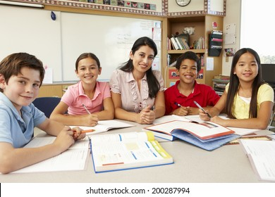 Teacher and schoolchildren in class