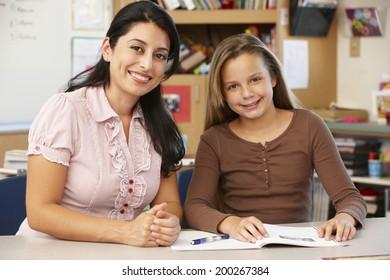 Teacher and schoolgirl in class