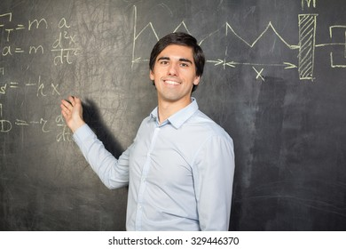 Teacher showing formulas on the blackboard