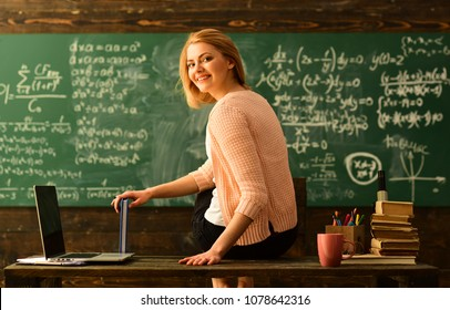Teacher is skilled leader, Student looks for studying method that suits his learning style, Modern teacher hipster writing on big blackboard with math formula, Some students learn best by listening,