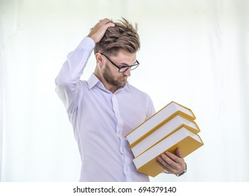 Teacher standing Crazy reading book
