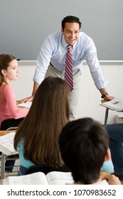 A teacher talking to his class