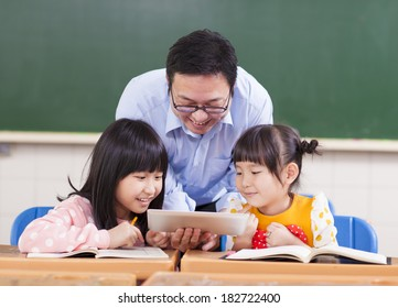 Teacher teaching  children with digital tablet or ipad