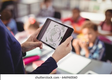 Teacher using digital tablet while teaching in classroom at school
