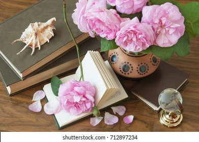 Teacher's Day. Still life with flowers and books