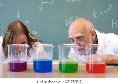 Teachers and students investigate an experiment in the classroom