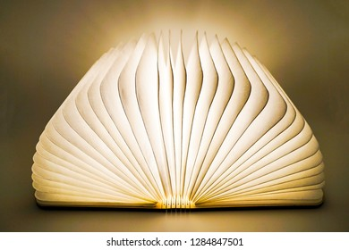 teaching is light, the book is lit, the book is with glowing pages, isolate