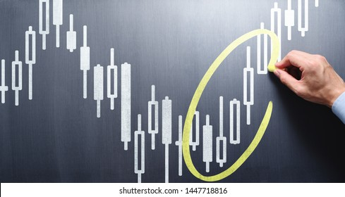Teaching stock market technical knowledge. Trader drawing candlestick chart and circle on chalkboard.