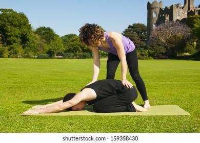 Teaching Yoga in a park