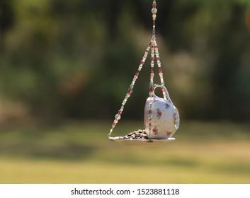 Teacup Bird Feeder Garden Decoration
