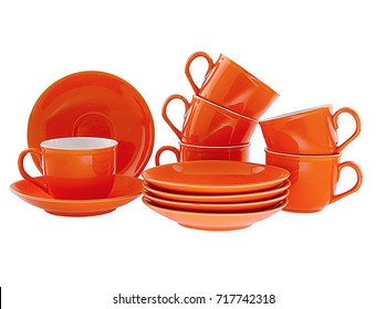 Teacup with Dish On White background,Orange Mug and Dish set