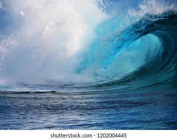 Teahupoo wave in tahiti