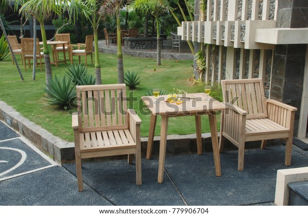Teak Garden Furniture Outdoor Chairs Table Stock Photo Edit