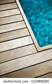 Teak terrace and details of a swimming pool