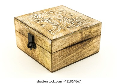 Teak Wood box empty. Open wooden box isolated on white background / wooden casket / box of wood on the white background
