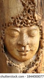 teak wood carved face decor