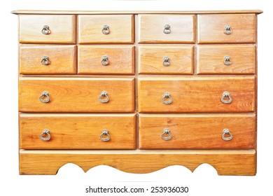 Teak wood drawer isolated on white