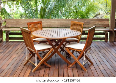 Teak wood furniture stand on the terrace
