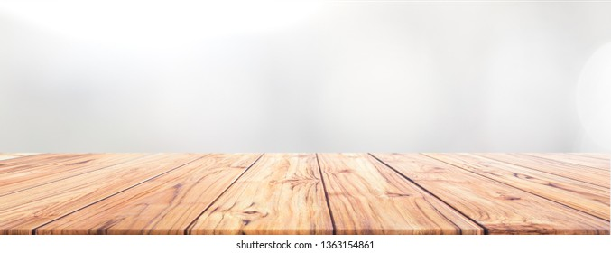 Teak Wood table top on white background for Wide Banner background used us montage display products design