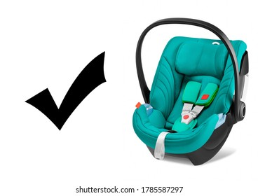 Teal Baby Carrier Isolated on White Background. Side View of Turquoise Child Safety Seat. Modern Restraining Car Seat with Side Impact Protection. Infant Restraint System. Travel Gear