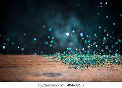 Teal Blue Glitter Lights Background. Vintage Sparkle Bokeh With Selective Focus. Defocused.